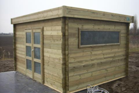 Tuinhuisje 3 op 4 met plat dak - JD Houtconstruct